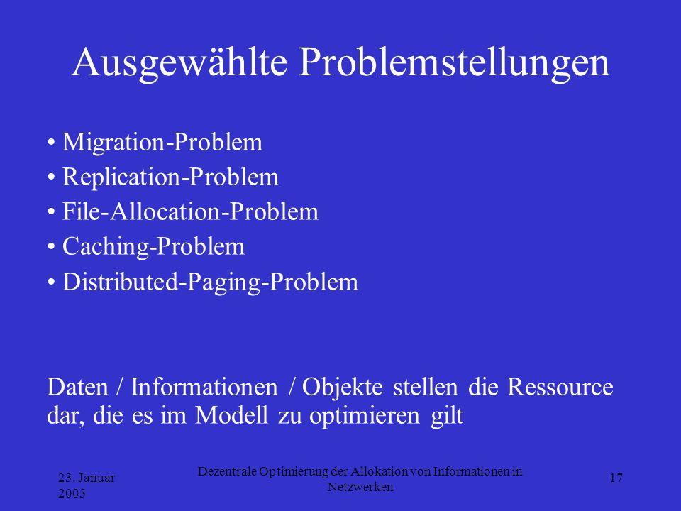23. Januar 2003 Dezentrale Optimierung der Allokation von Informationen in Netzwerken 17 Ausgewählte Problemstellungen Migration-Problem Replication-P