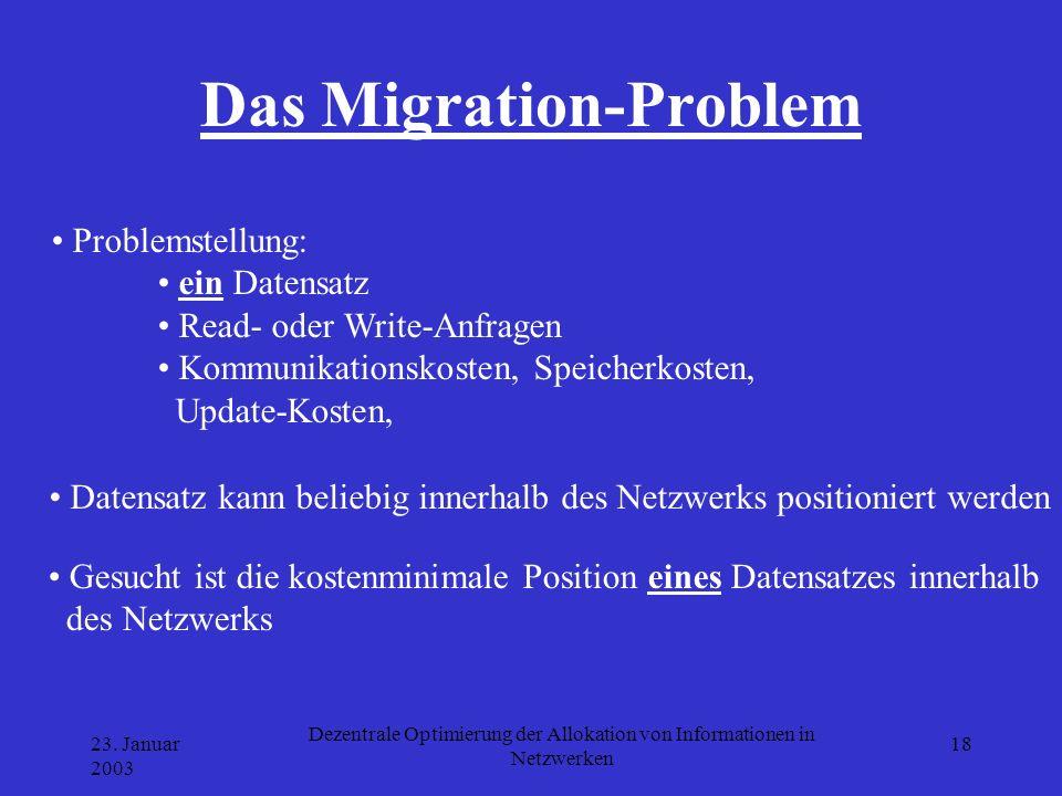 23. Januar 2003 Dezentrale Optimierung der Allokation von Informationen in Netzwerken 18 Das Migration-Problem Gesucht ist die kostenminimale Position