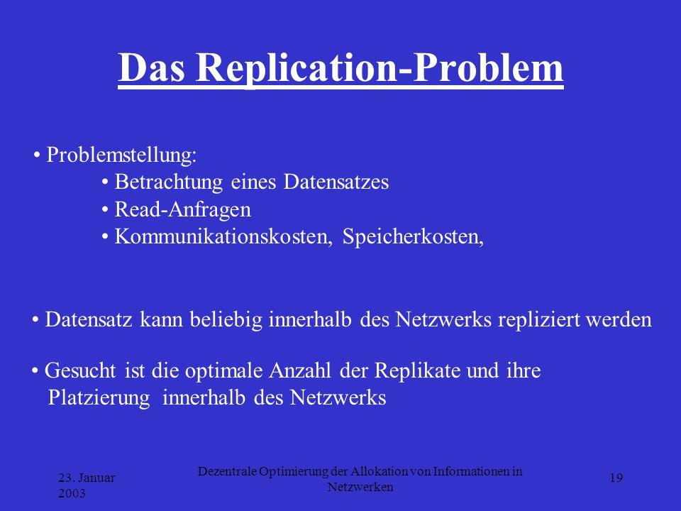 23. Januar 2003 Dezentrale Optimierung der Allokation von Informationen in Netzwerken 19 Das Replication-Problem Gesucht ist die optimale Anzahl der R
