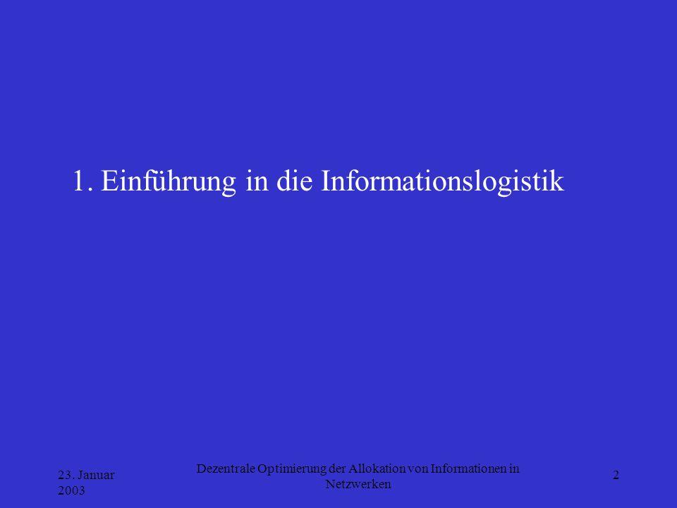23. Januar 2003 Dezentrale Optimierung der Allokation von Informationen in Netzwerken 2 1. Einführung in die Informationslogistik