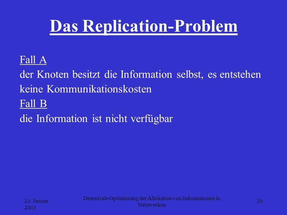 23. Januar 2003 Dezentrale Optimierung der Allokation von Informationen in Netzwerken 20 Das Replication-Problem Fall A der Knoten besitzt die Informa