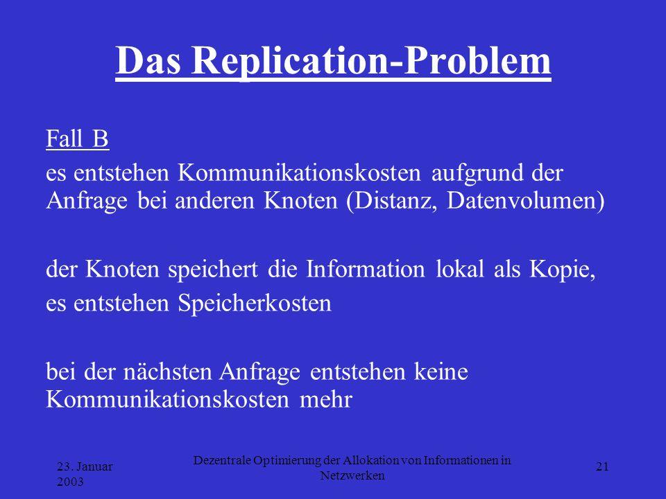 23. Januar 2003 Dezentrale Optimierung der Allokation von Informationen in Netzwerken 21 Das Replication-Problem Fall B es entstehen Kommunikationskos