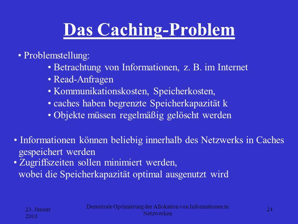 23. Januar 2003 Dezentrale Optimierung der Allokation von Informationen in Netzwerken 24 Das Caching-Problem Zugriffszeiten sollen minimiert werden, w