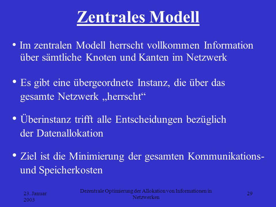 23. Januar 2003 Dezentrale Optimierung der Allokation von Informationen in Netzwerken 29 Zentrales Modell Im zentralen Modell herrscht vollkommen Info