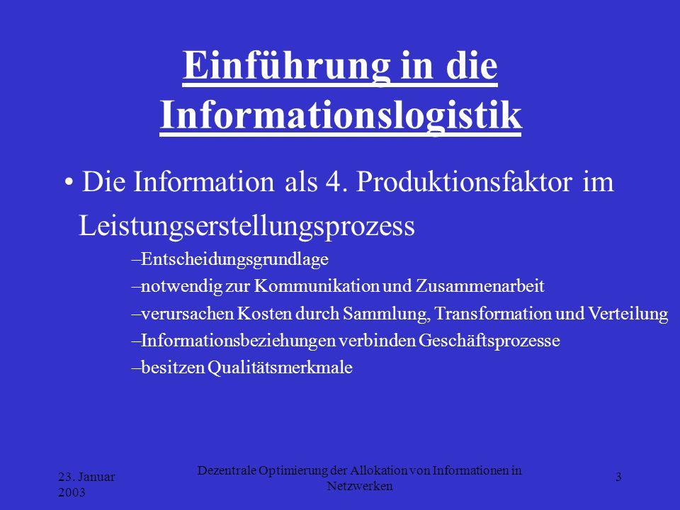 23. Januar 2003 Dezentrale Optimierung der Allokation von Informationen in Netzwerken 3 Einführung in die Informationslogistik Die Information als 4.