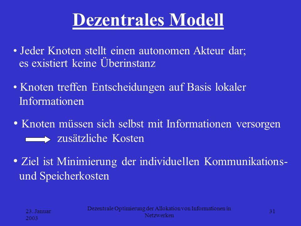 23. Januar 2003 Dezentrale Optimierung der Allokation von Informationen in Netzwerken 31 Dezentrales Modell Jeder Knoten stellt einen autonomen Akteur