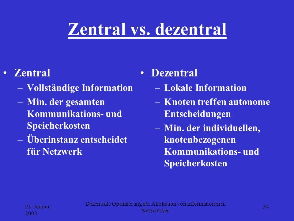 23. Januar 2003 Dezentrale Optimierung der Allokation von Informationen in Netzwerken 34 Zentral vs. dezentral Zentral –Vollständige Information –Min.