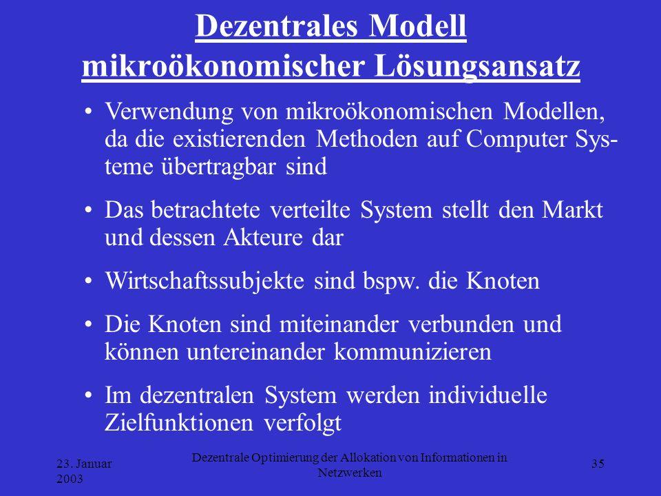 23. Januar 2003 Dezentrale Optimierung der Allokation von Informationen in Netzwerken 35 Dezentrales Modell mikroökonomischer Lösungsansatz Verwendung