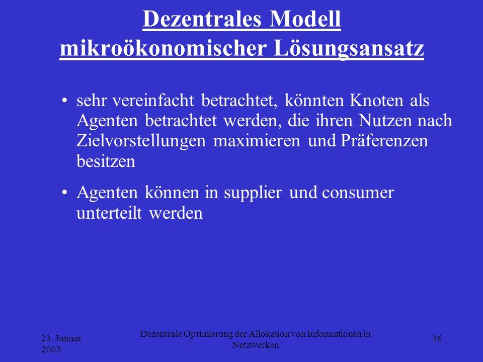 23. Januar 2003 Dezentrale Optimierung der Allokation von Informationen in Netzwerken 36 Dezentrales Modell mikroökonomischer Lösungsansatz sehr verei
