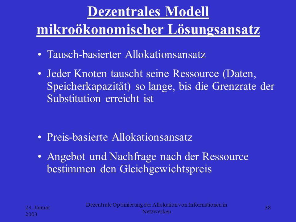 23. Januar 2003 Dezentrale Optimierung der Allokation von Informationen in Netzwerken 38 Dezentrales Modell mikroökonomischer Lösungsansatz Tausch-bas
