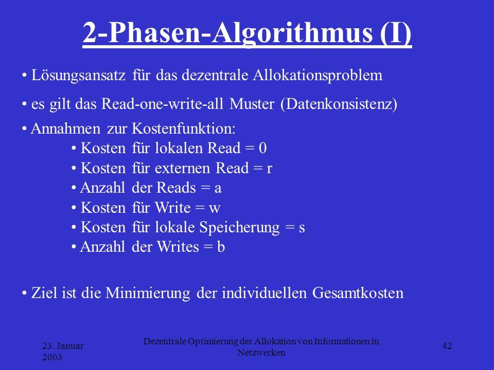 23. Januar 2003 Dezentrale Optimierung der Allokation von Informationen in Netzwerken 42 2-Phasen-Algorithmus (I) Lösungsansatz für das dezentrale All