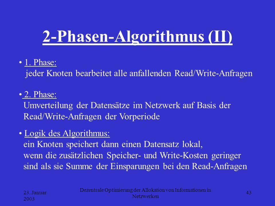 23. Januar 2003 Dezentrale Optimierung der Allokation von Informationen in Netzwerken 43 2-Phasen-Algorithmus (II) 1. Phase: jeder Knoten bearbeitet a