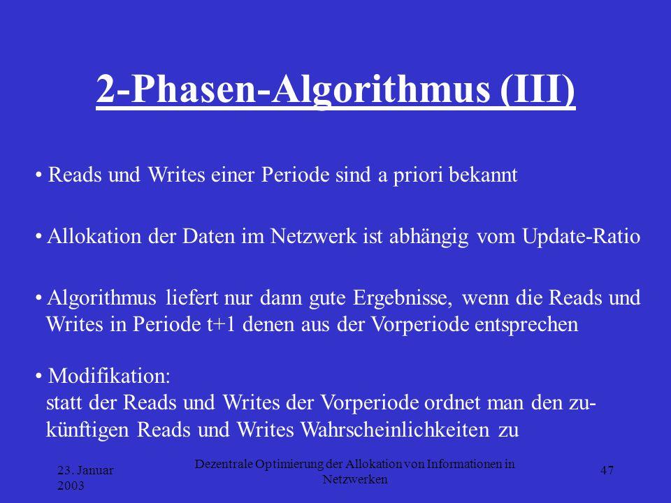 23. Januar 2003 Dezentrale Optimierung der Allokation von Informationen in Netzwerken 47 2-Phasen-Algorithmus (III) Allokation der Daten im Netzwerk i