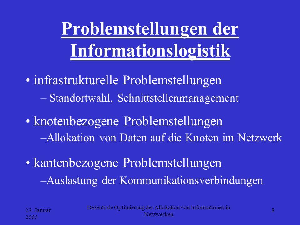 23. Januar 2003 Dezentrale Optimierung der Allokation von Informationen in Netzwerken 8 Problemstellungen der Informationslogistik knotenbezogene Prob