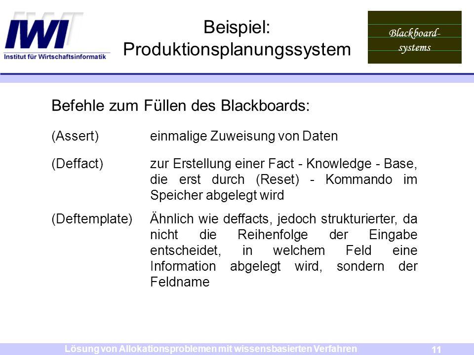 Blackboard- systems 11 Lösung von Allokationsproblemen mit wissensbasierten Verfahren Beispiel: Produktionsplanungssystem Befehle zum Füllen des Black