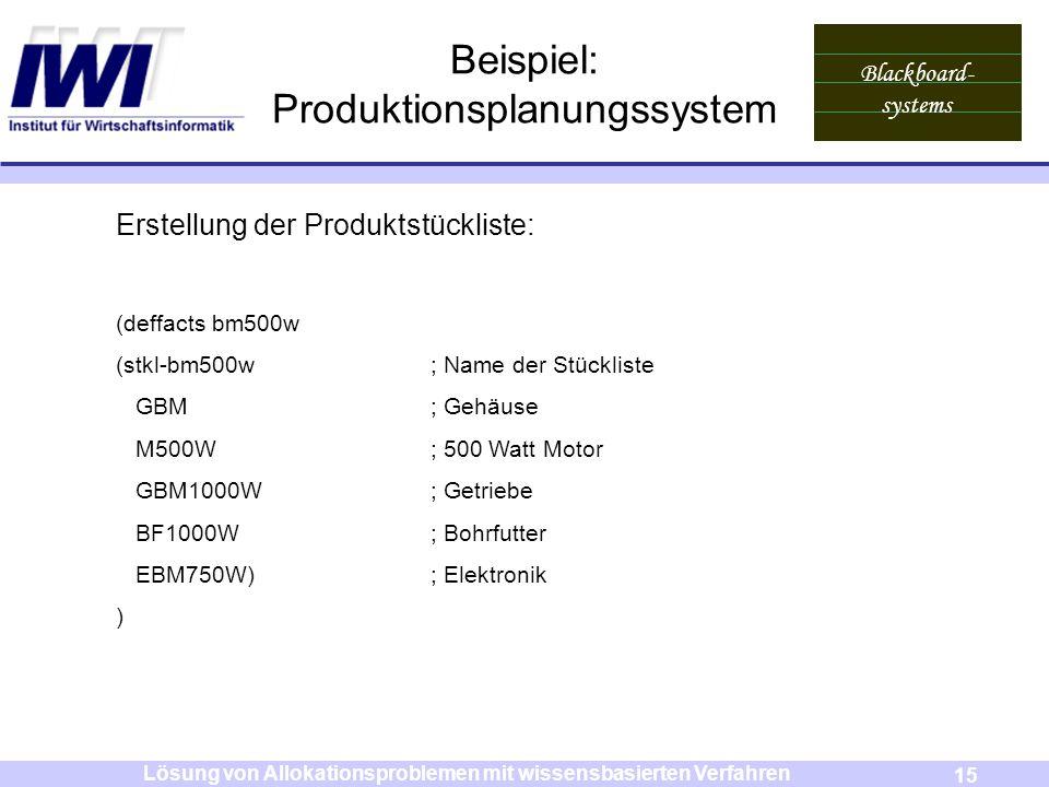 Blackboard- systems 15 Lösung von Allokationsproblemen mit wissensbasierten Verfahren Beispiel: Produktionsplanungssystem Erstellung der Produktstückl
