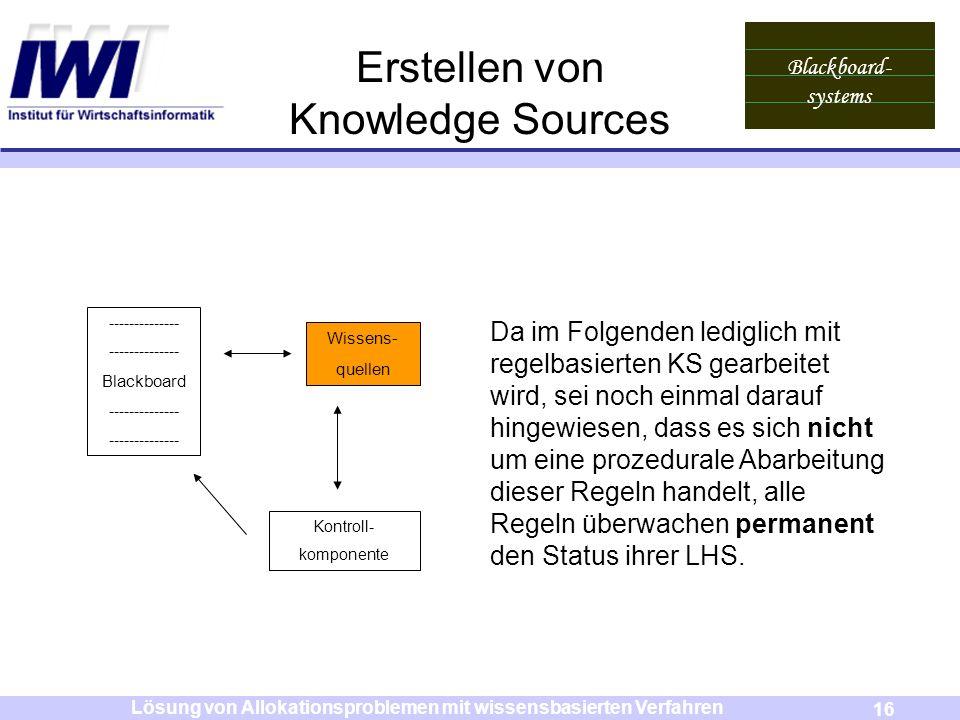 Blackboard- systems 16 Lösung von Allokationsproblemen mit wissensbasierten Verfahren Erstellen von Knowledge Sources Wissens- quellen Kontroll- kompo