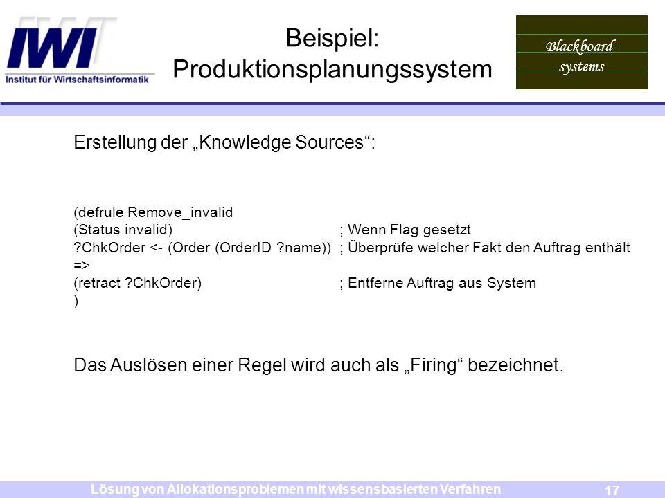 Blackboard- systems 17 Lösung von Allokationsproblemen mit wissensbasierten Verfahren Beispiel: Produktionsplanungssystem Erstellung der Knowledge Sou