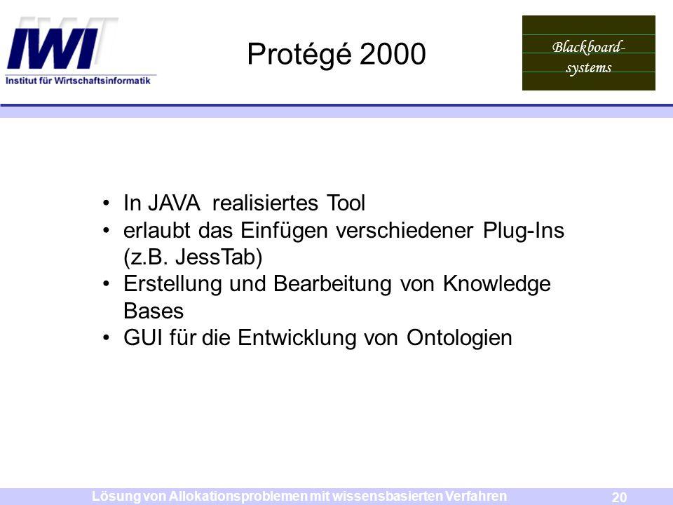 Blackboard- systems 20 Lösung von Allokationsproblemen mit wissensbasierten Verfahren Protégé 2000 In JAVA realisiertes Tool erlaubt das Einfügen vers