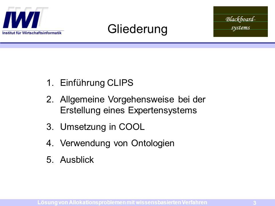Blackboard- systems 3 Lösung von Allokationsproblemen mit wissensbasierten Verfahren Gliederung 1.Einführung CLIPS 2.Allgemeine Vorgehensweise bei der