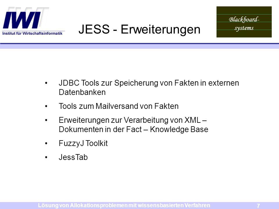 Blackboard- systems 7 Lösung von Allokationsproblemen mit wissensbasierten Verfahren JESS - Erweiterungen JDBC Tools zur Speicherung von Fakten in ext