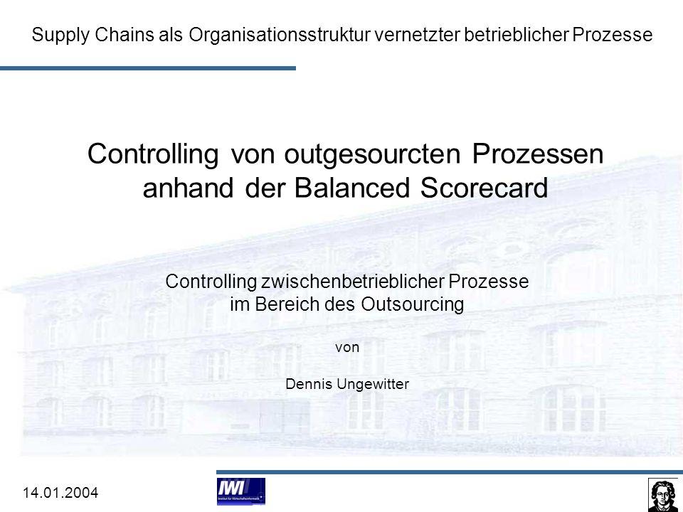 Controlling von outgesourcten Prozessen anhand der Balanced Scorecard 2 Agenda 1.Definition von Outsourcing und Controlling 2.Grundlagen der Balanced Scorecard 3.Konzeption und Aufbau einer Balanced Scorecard für das Controlling von outgesourcten Prozessen 4.Zusammenfassung