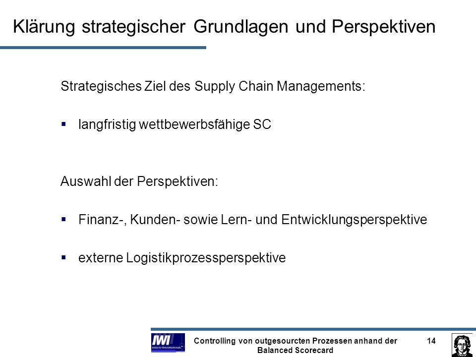 Controlling von outgesourcten Prozessen anhand der Balanced Scorecard 14 Klärung strategischer Grundlagen und Perspektiven Strategisches Ziel des Supp
