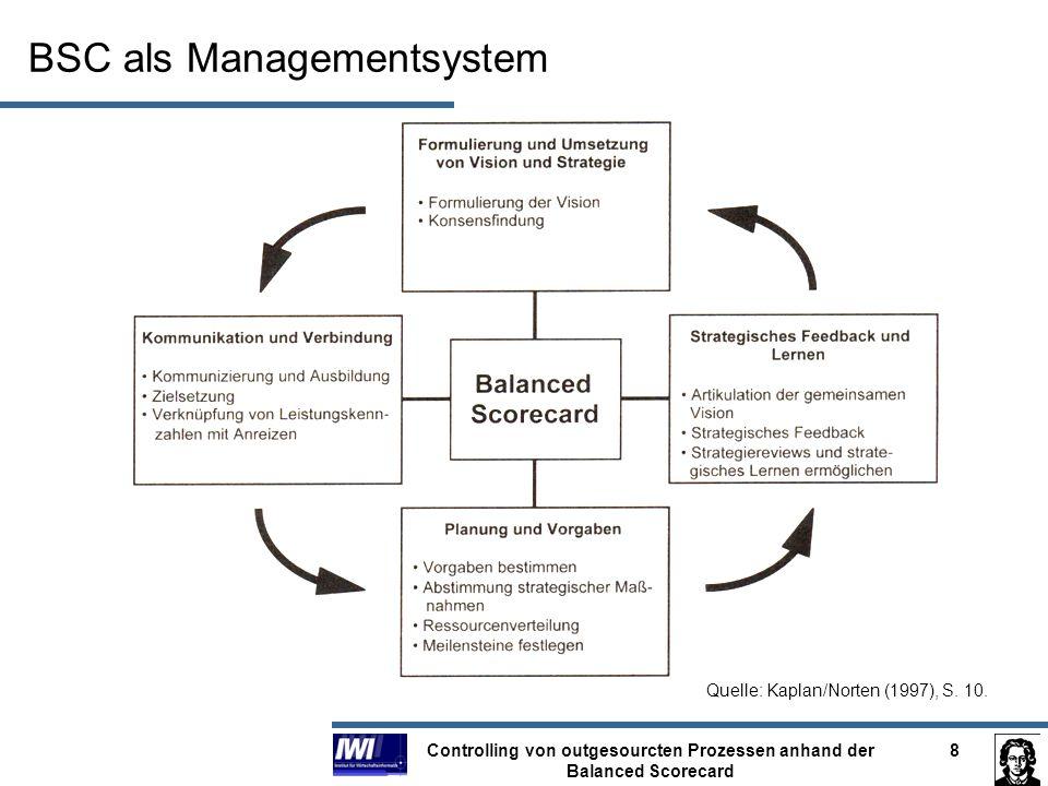 Controlling von outgesourcten Prozessen anhand der Balanced Scorecard 8 BSC als Managementsystem Quelle: Kaplan/Norten (1997), S. 10.
