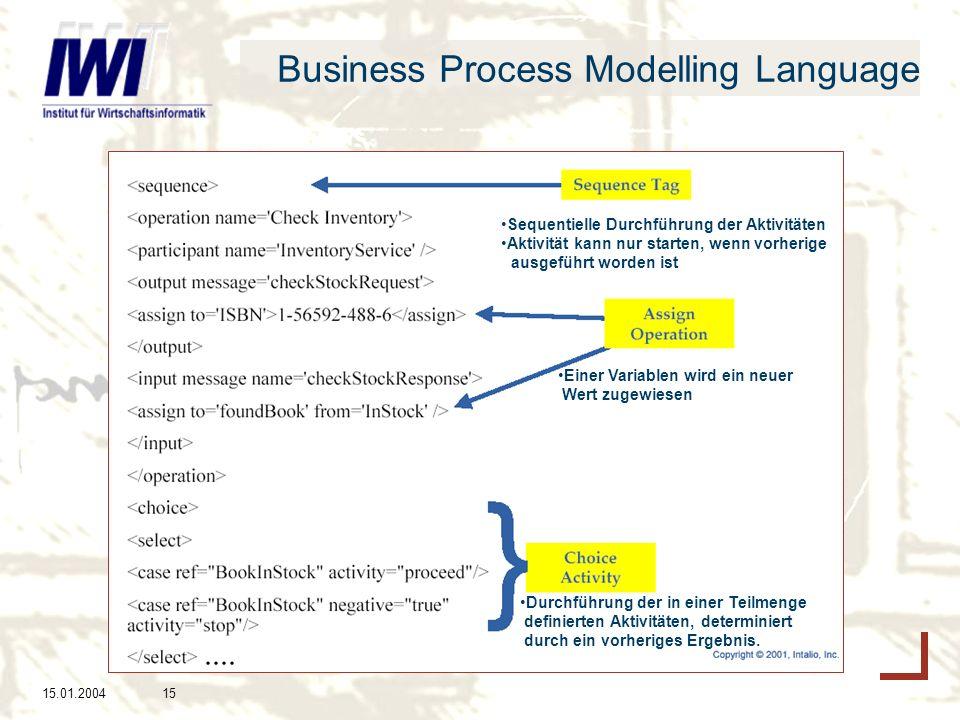 15.01.200415 Business Process Modelling Language Sequentielle Durchführung der Aktivitäten Aktivität kann nur starten, wenn vorherige ausgeführt worden ist Einer Variablen wird ein neuer Wert zugewiesen Durchführung der in einer Teilmenge definierten Aktivitäten, determiniert durch ein vorheriges Ergebnis.....