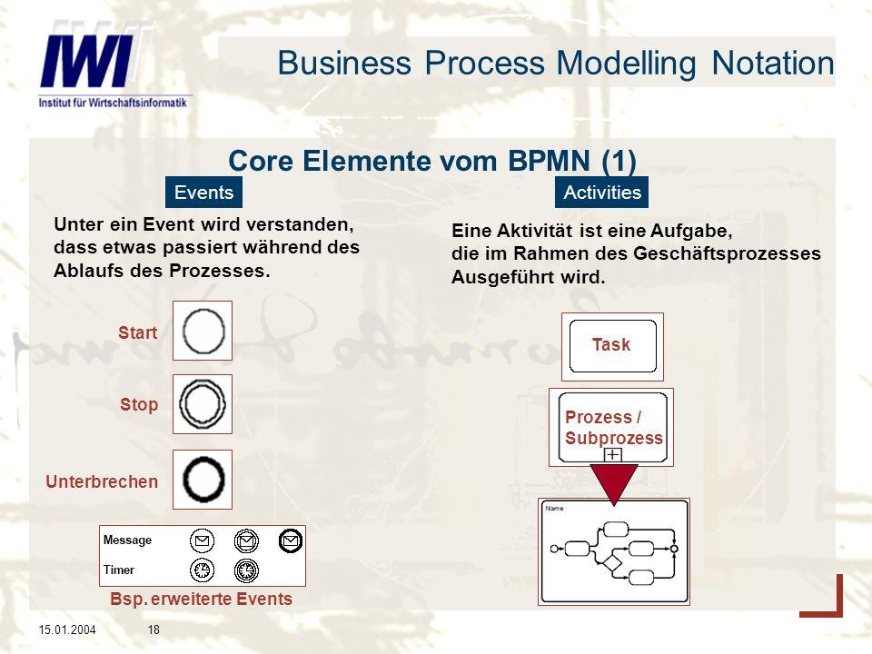 15.01.200418 Business Process Modelling Notation Core Elemente vom BPMN (1) EventsActivities Unter ein Event wird verstanden, dass etwas passiert während des Ablaufs des Prozesses.