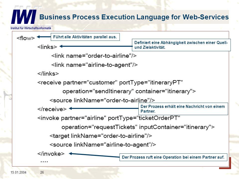 15.01.200426 Business Process Execution Language for Web-Services Definiert eine Abhängigkeit zwischen einer Quell- und Zielaktivität.