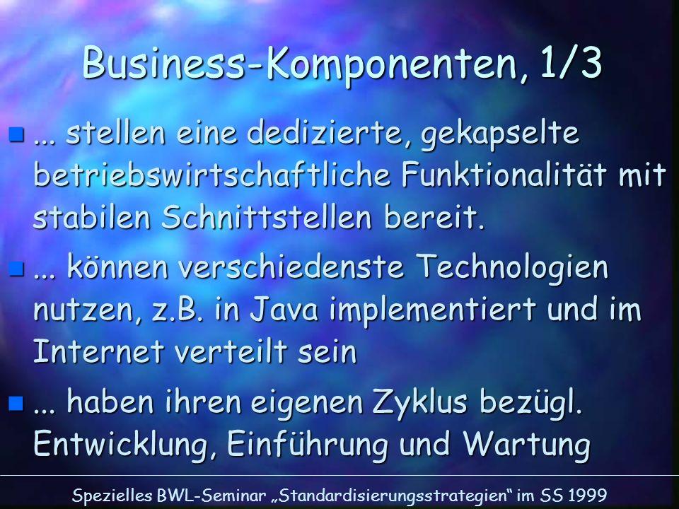 Spezielles BWL-Seminar Standardisierungsstrategien im SS 1999 Business-Komponenten, 1/3 n... stellen eine dedizierte, gekapselte betriebswirtschaftlic