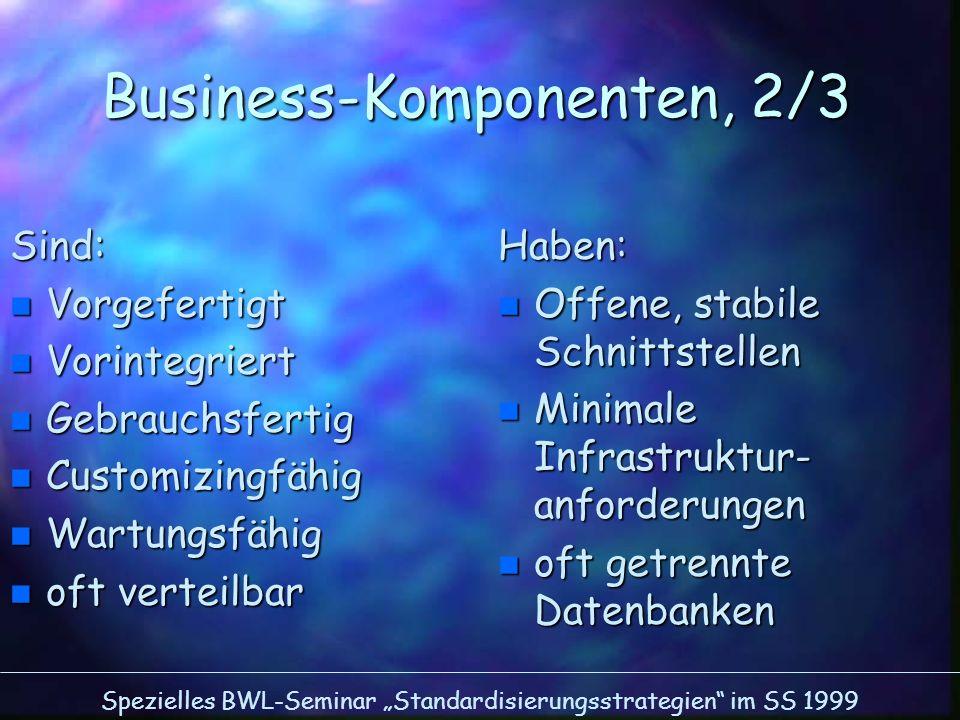 Spezielles BWL-Seminar Standardisierungsstrategien im SS 1999 Business-Komponenten, 2/3 Sind: n Vorgefertigt n Vorintegriert n Gebrauchsfertig n Custo