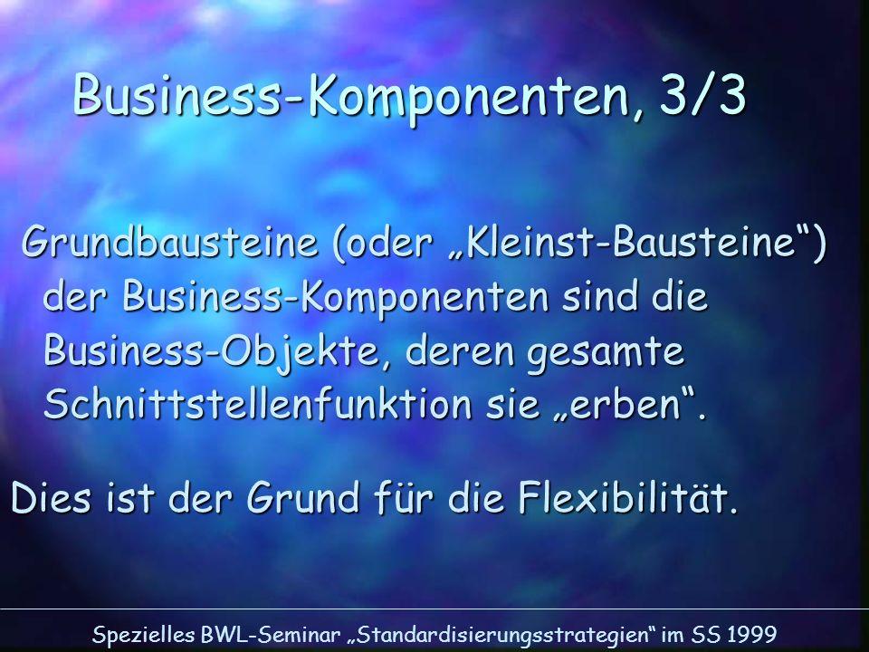 Spezielles BWL-Seminar Standardisierungsstrategien im SS 1999 Business-Komponenten, 3/3 Grundbausteine (oder Kleinst-Bausteine) der Business-Komponent