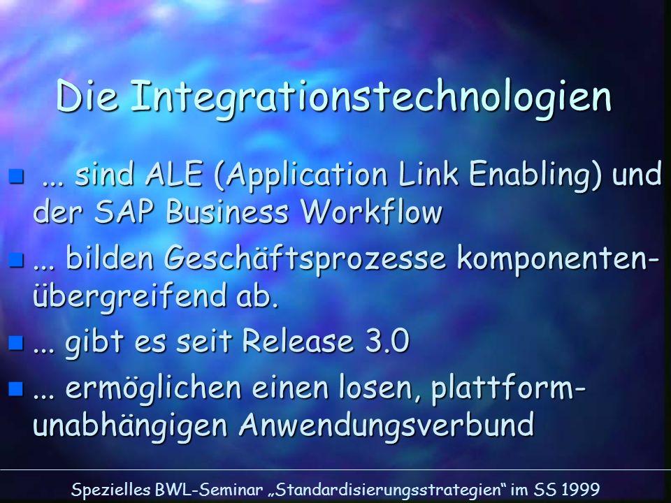 Spezielles BWL-Seminar Standardisierungsstrategien im SS 1999 Die Integrationstechnologien n... sind ALE (Application Link Enabling) und der SAP Busin