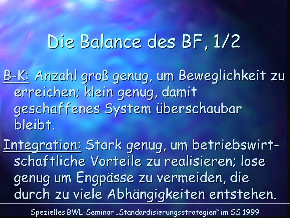 Spezielles BWL-Seminar Standardisierungsstrategien im SS 1999 Die Balance des BF, 1/2 B-K: Anzahl groß genug, um Beweglichkeit zu erreichen; klein gen
