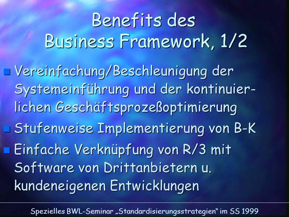 Spezielles BWL-Seminar Standardisierungsstrategien im SS 1999 Benefits des Business Framework, 1/2 n Vereinfachung/Beschleunigung der Systemeinführung