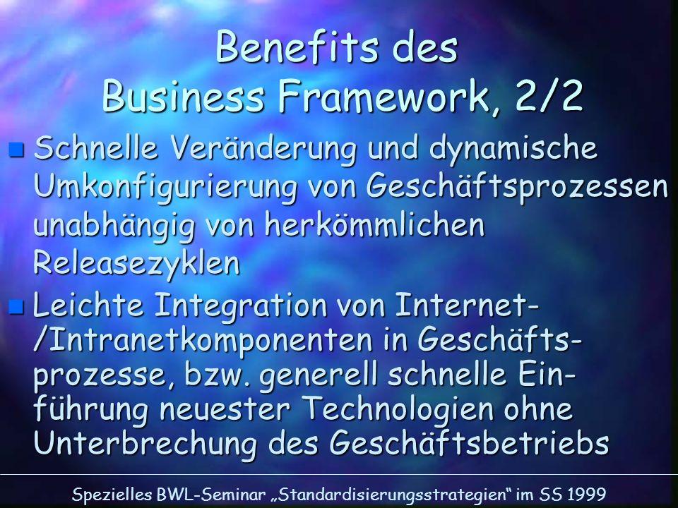 Spezielles BWL-Seminar Standardisierungsstrategien im SS 1999 Benefits des Business Framework, 2/2 n Schnelle Veränderung und dynamische Umkonfigurier