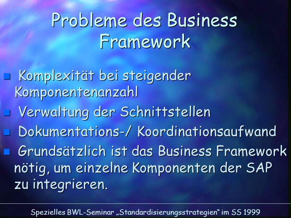 Spezielles BWL-Seminar Standardisierungsstrategien im SS 1999 Probleme des Business Framework n Komplexität bei steigender Komponentenanzahl n Verwalt