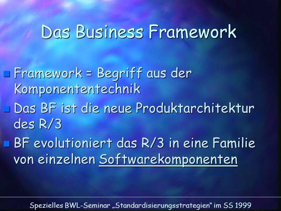 Spezielles BWL-Seminar Standardisierungsstrategien im SS 1999 Das Business Framework n Framework = Begriff aus der Komponententechnik n Das BF ist die