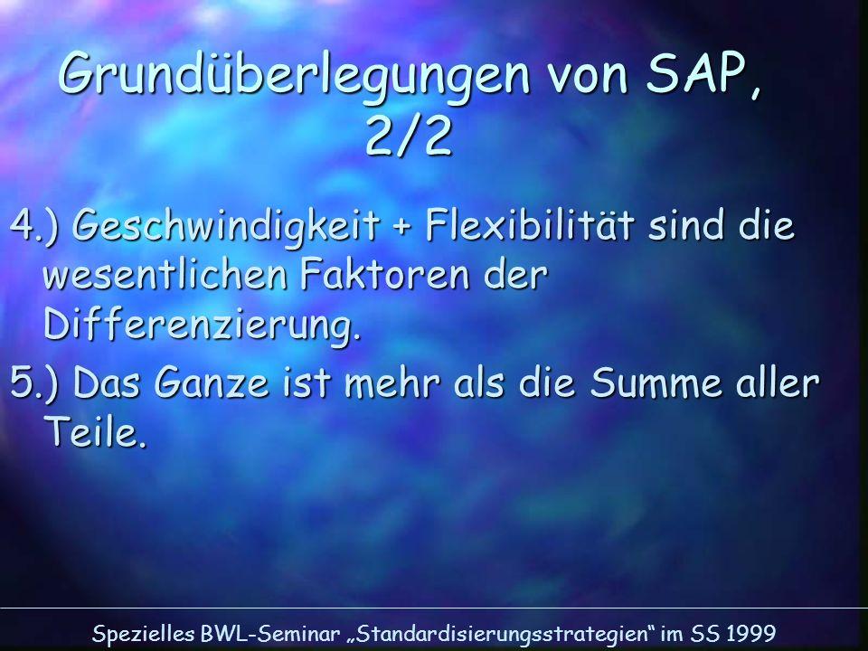 Spezielles BWL-Seminar Standardisierungsstrategien im SS 1999 4.) Geschwindigkeit + Flexibilität sind die wesentlichen Faktoren der Differenzierung. 5