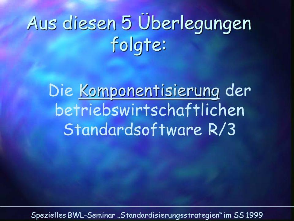 Spezielles BWL-Seminar Standardisierungsstrategien im SS 1999 Aus diesen 5 Überlegungen folgte: Komponentisierung Die Komponentisierung der betriebswi
