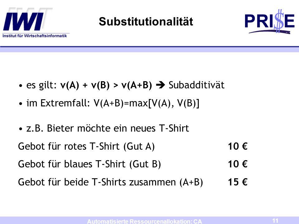 11 Automatisierte Ressourcenallokation: CA Substitutionalität es gilt: v(A) + v(B) > v(A+B) Subadditivät im Extremfall: V(A+B)=max[V(A), V(B)] z.B. Bi
