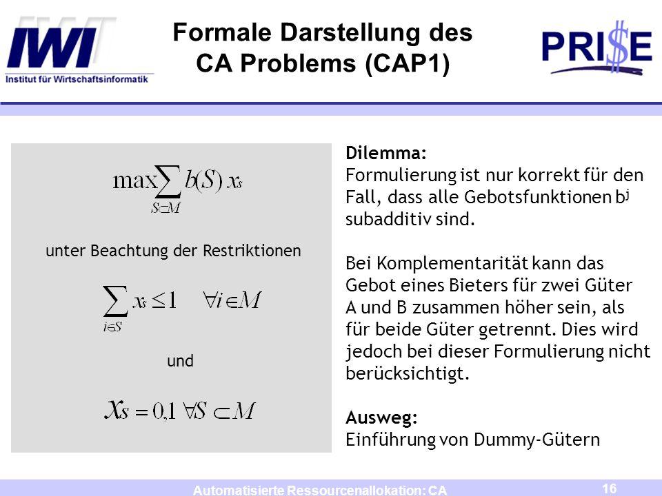 16 Automatisierte Ressourcenallokation: CA Formale Darstellung des CA Problems (CAP1) unter Beachtung der Restriktionen und Dilemma: Formulierung ist