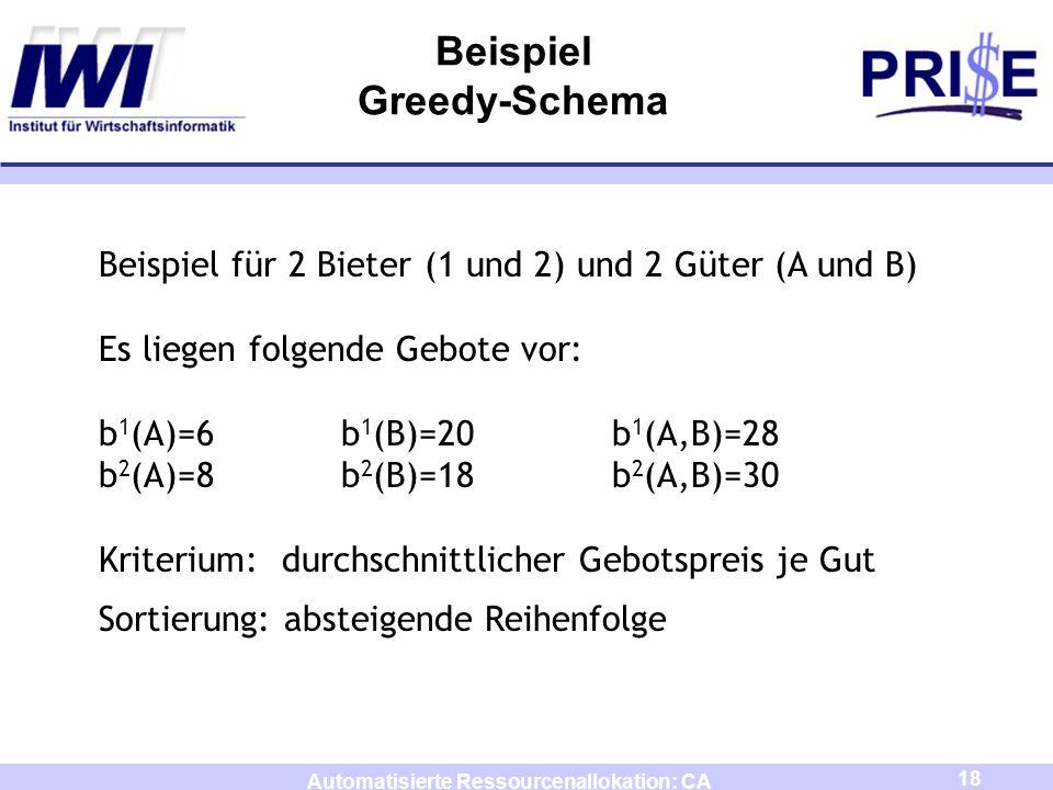 18 Automatisierte Ressourcenallokation: CA Beispiel Greedy-Schema Beispiel für 2 Bieter (1 und 2) und 2 Güter (A und B) Es liegen folgende Gebote vor: