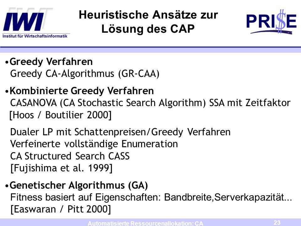 23 Automatisierte Ressourcenallokation: CA Heuristische Ansätze zur Lösung des CAP Greedy Verfahren Greedy CA-Algorithmus (GR-CAA) Kombinierte Greedy