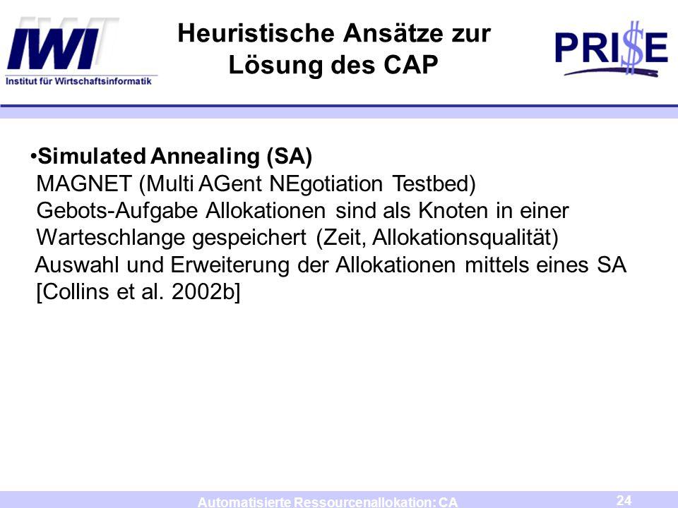 24 Automatisierte Ressourcenallokation: CA Heuristische Ansätze zur Lösung des CAP Simulated Annealing (SA) MAGNET (Multi AGent NEgotiation Testbed) G