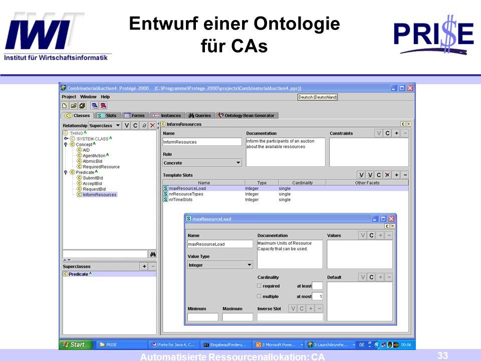 33 Automatisierte Ressourcenallokation: CA Entwurf einer Ontologie für CAs