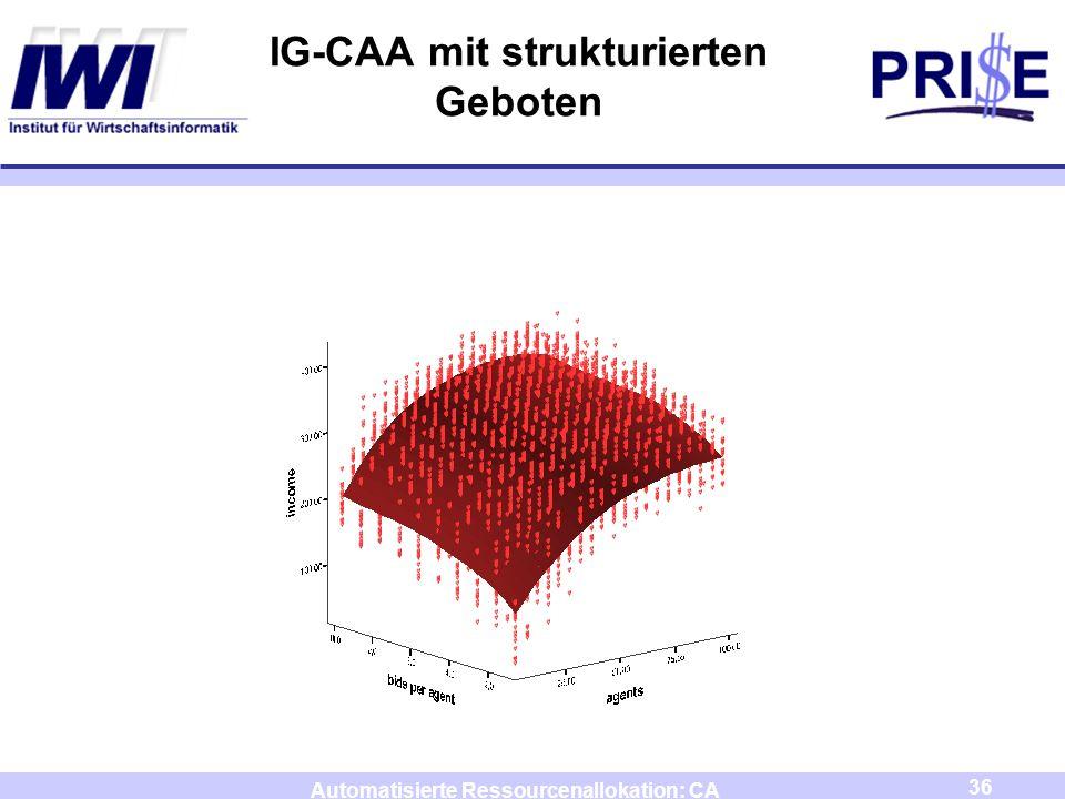 36 Automatisierte Ressourcenallokation: CA IG-CAA mit strukturierten Geboten
