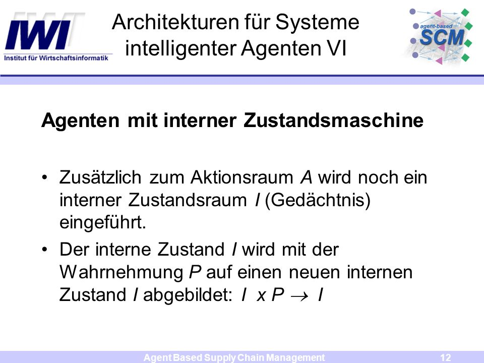 Agent Based Supply Chain Management12 Architekturen für Systeme intelligenter Agenten VI Agenten mit interner Zustandsmaschine Zusätzlich zum Aktionsraum A wird noch ein interner Zustandsraum I (Gedächtnis) eingeführt.